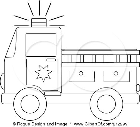 Coloring Page Outline Of A Fire Truck With A Ladder Poster Art