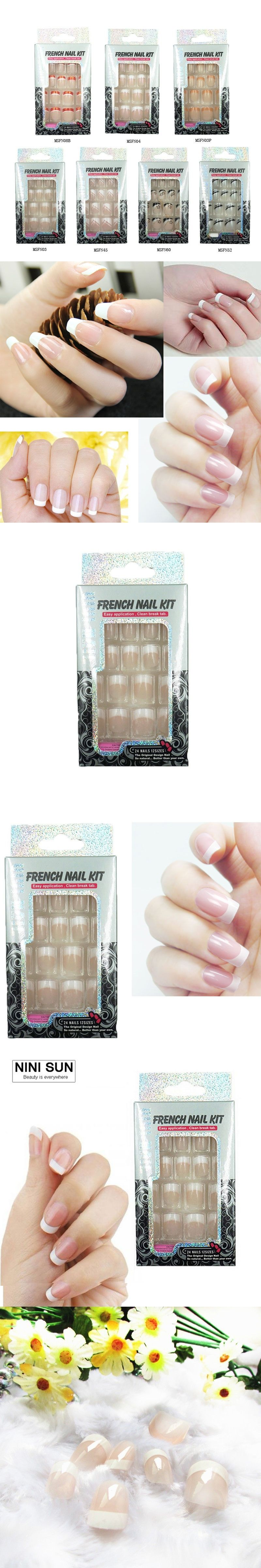 24 PCS Nail Art Tips Classic French New Girls/Bride Pre Designed ...