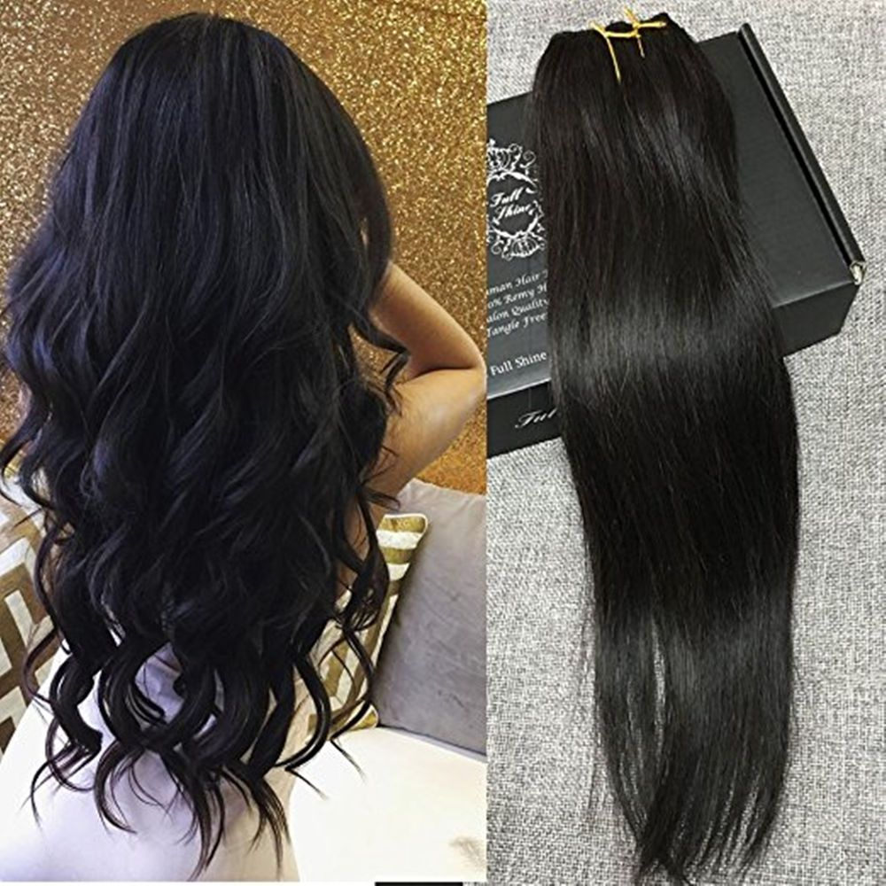 one piece clip in 100% human hair extensions 3/4 head off black #1b