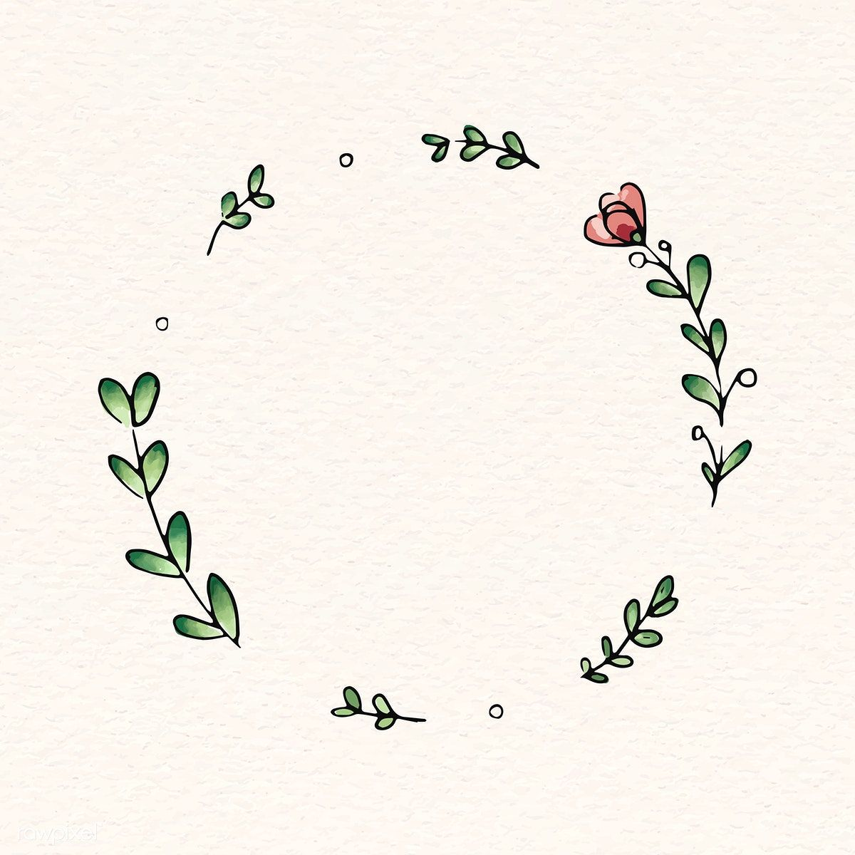 Photo of Download premium vector of Doodle round floral wreath frame vector 843849
