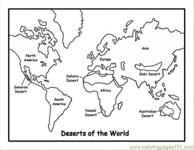 Map Coloring Pages For Kindergarten : World map printable coloring pages