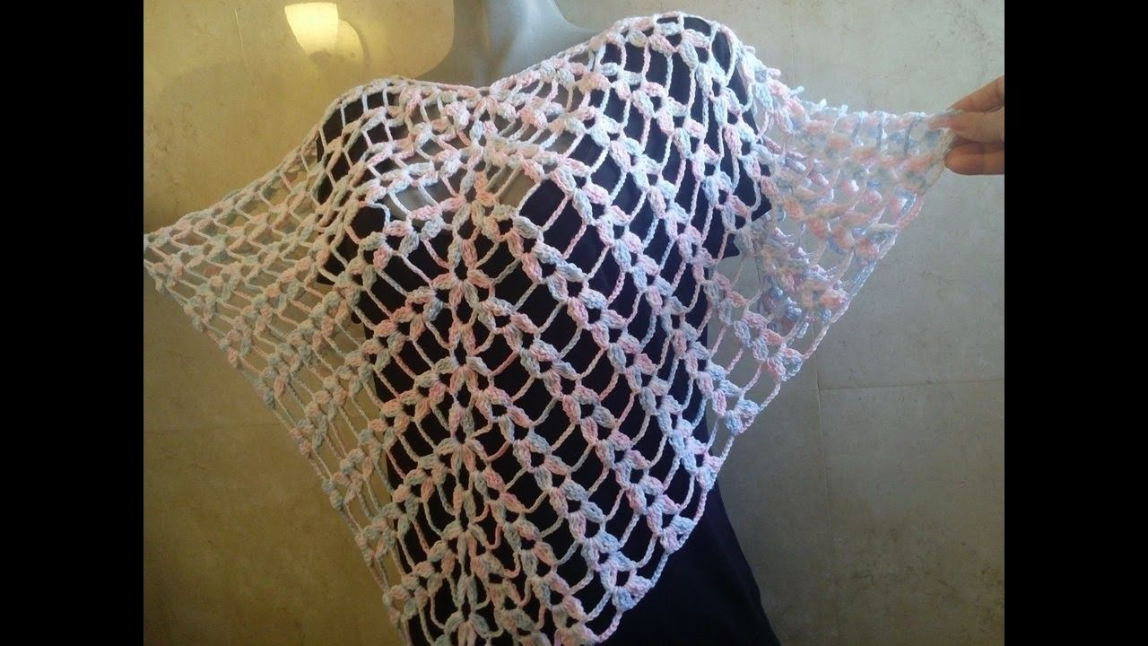 Chal triangular (punto piña) crochet | crochet | Pinterest | Chal ...