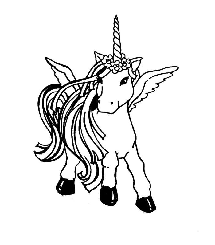 Unicorn With Wing Coloring Pages | Coloring Page ... | Pinterest ...