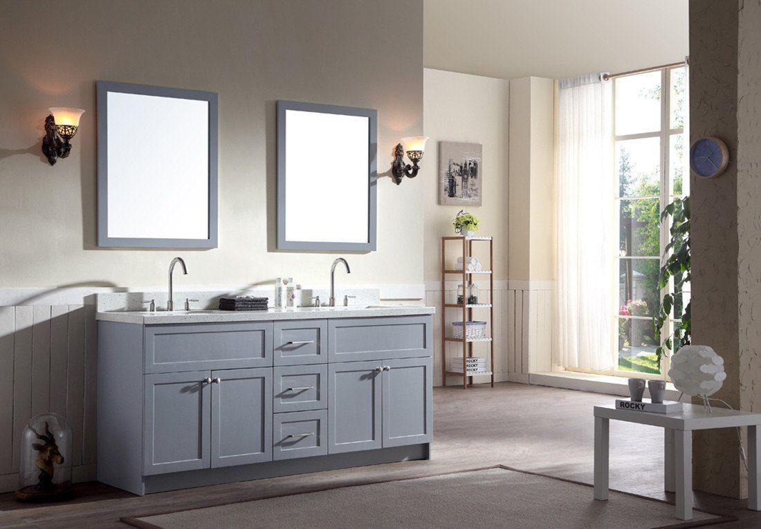 Art Exhibition Ariel Hamlet Double Sink Bathroom Vanity Set Solid Wood Construction Grey