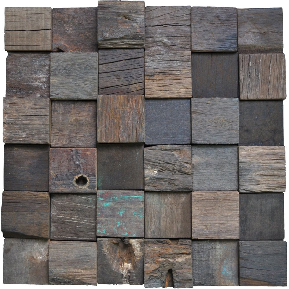 Decorative Wood Wall Tiles Reclaimed Wood Wall Tiles Accent Wall Square 11 Panels 1066 Sqft