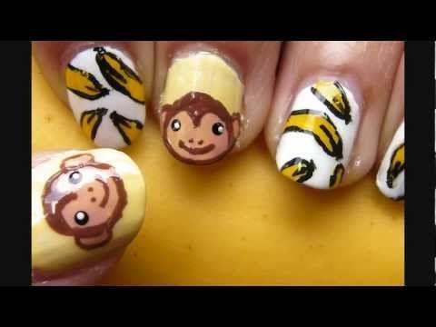 Monkey and Banana Nail Art.