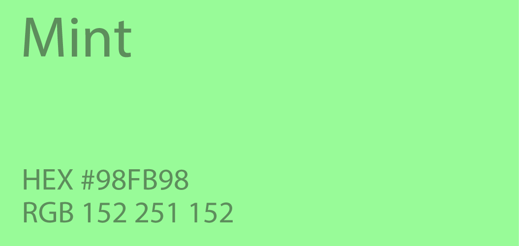 Mint Green Color Paint Code Swatch Chart Rgb Html Hex