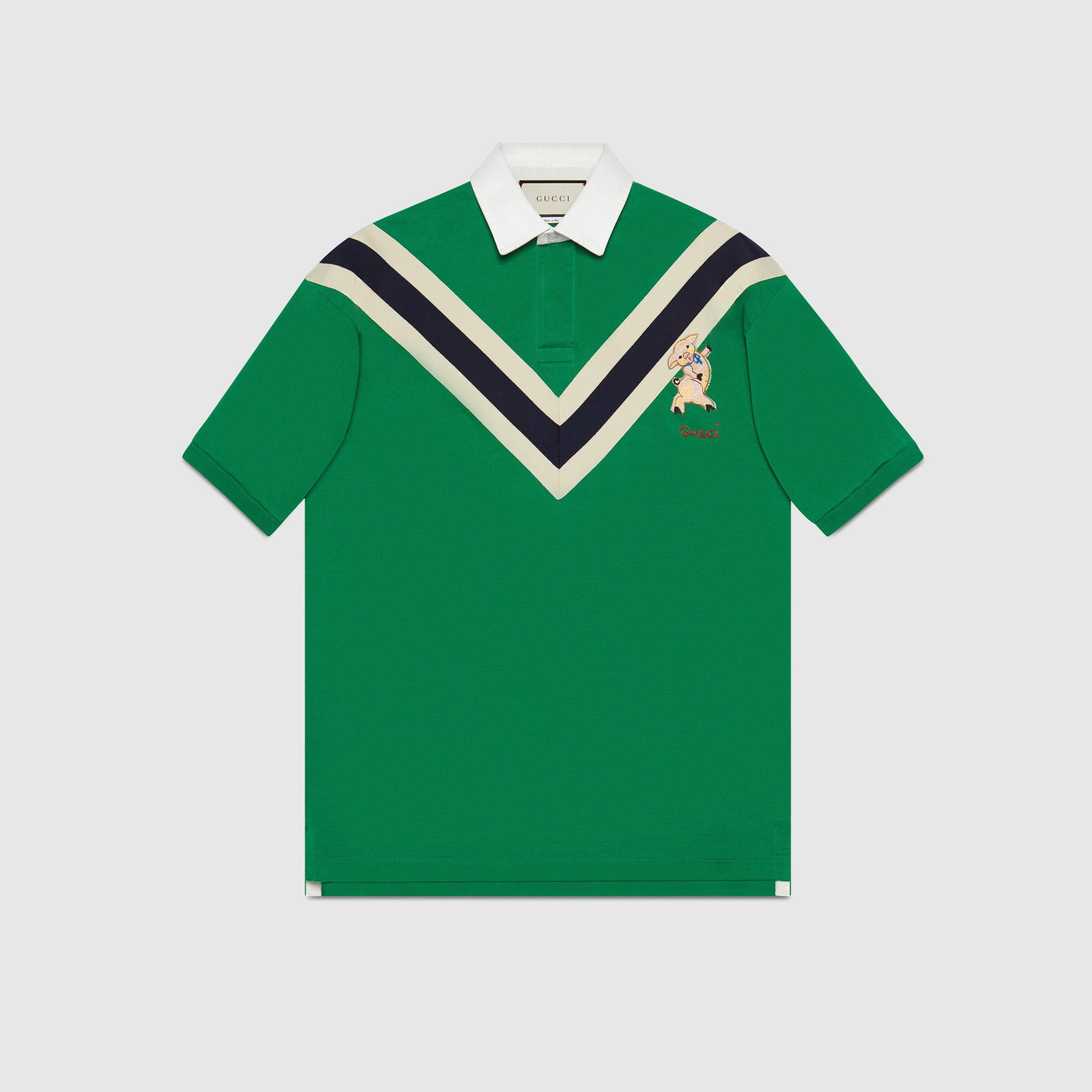 88a3f28d7 Chevron polo with piglet - Gucci Men s T-shirts   Polos 523055X9U383234