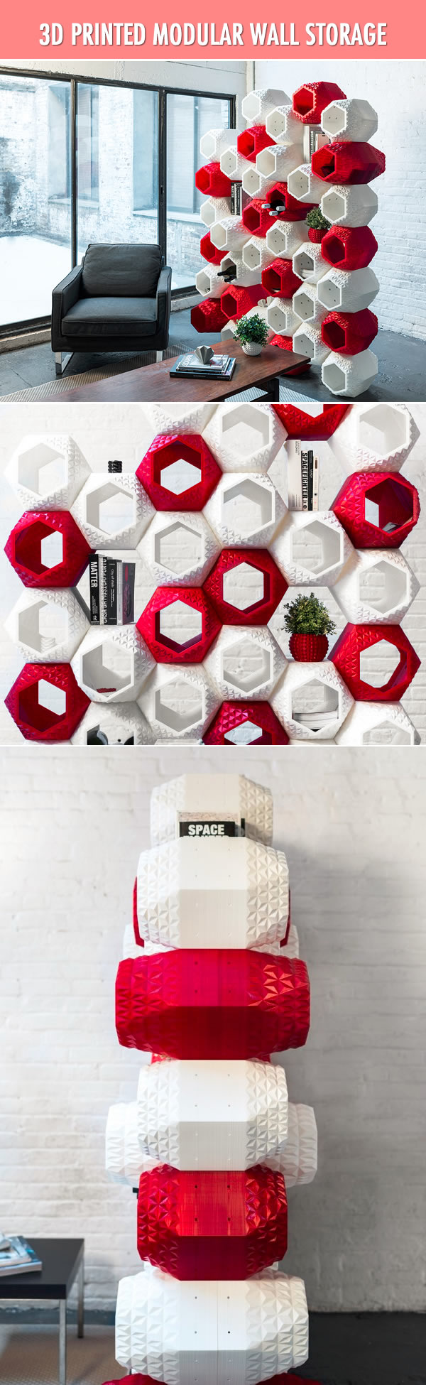 3D printed modular wall storage: fancy your living room.