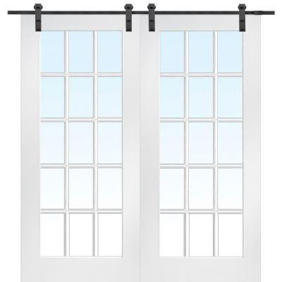 Mmi Door 72 In X 80 In Primed Composite Clear Glass 15 Lite Double Sliding Barn Door With Matte Black Hardware Kit Z009624 Glass Barn Doors French Doors Interior Barn Doors Sliding