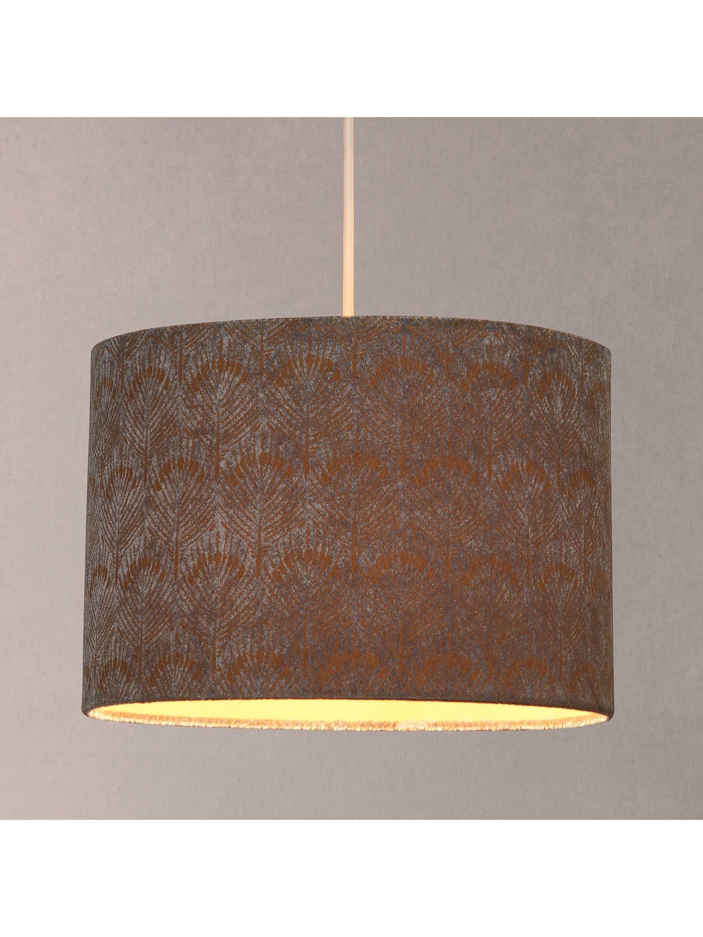 John Lewis Partners Pavone Velvet Lampshade Silver Gold Lamp Shades Hanging Lights Ceiling Lamp Shades