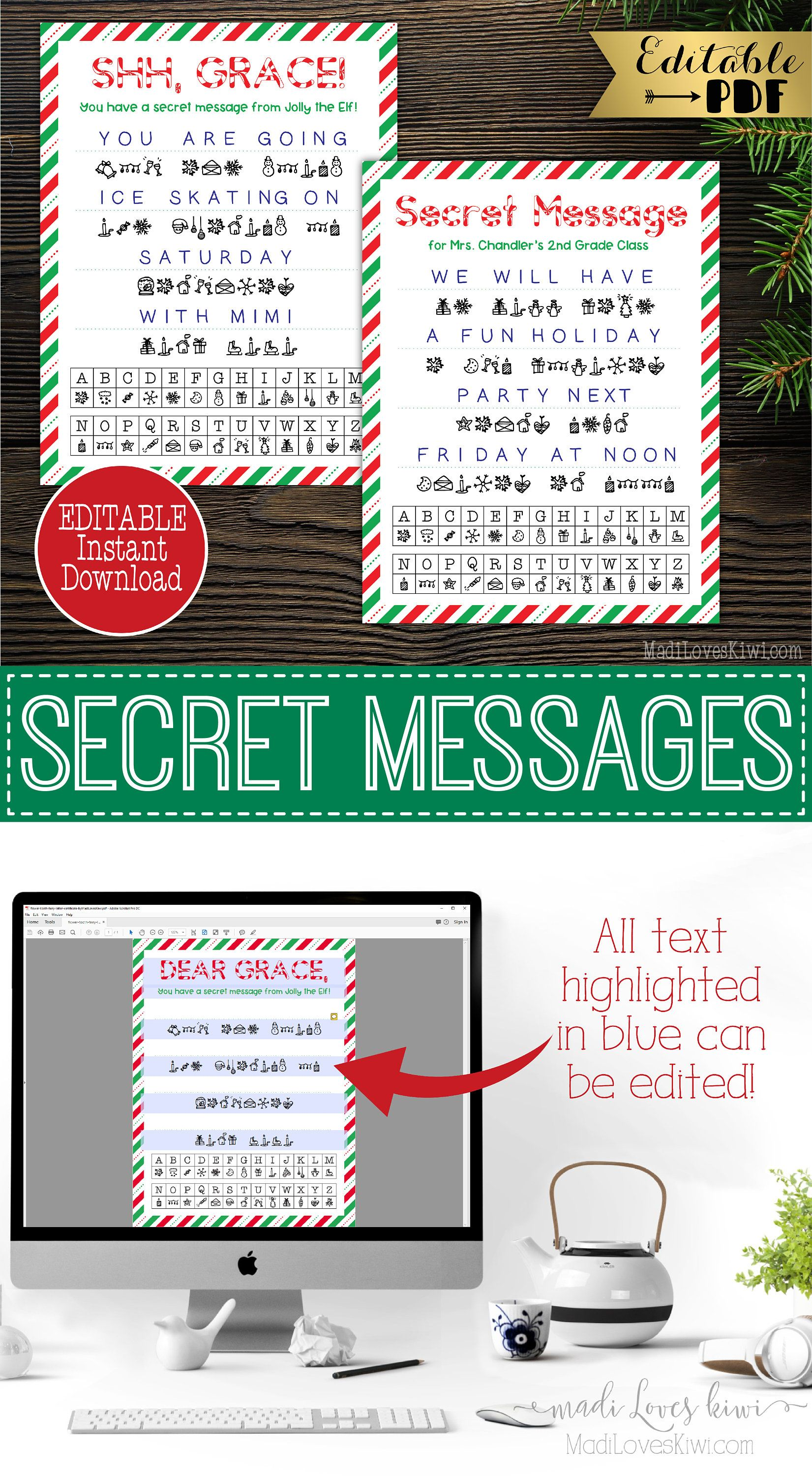 Editable Secret Message From Elf Printable Elf Prop