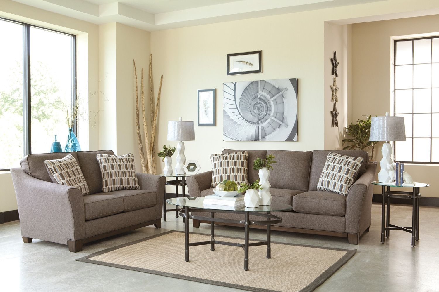 43804 - The Janley Living Room Set - Brown | Living room sets, Room ...