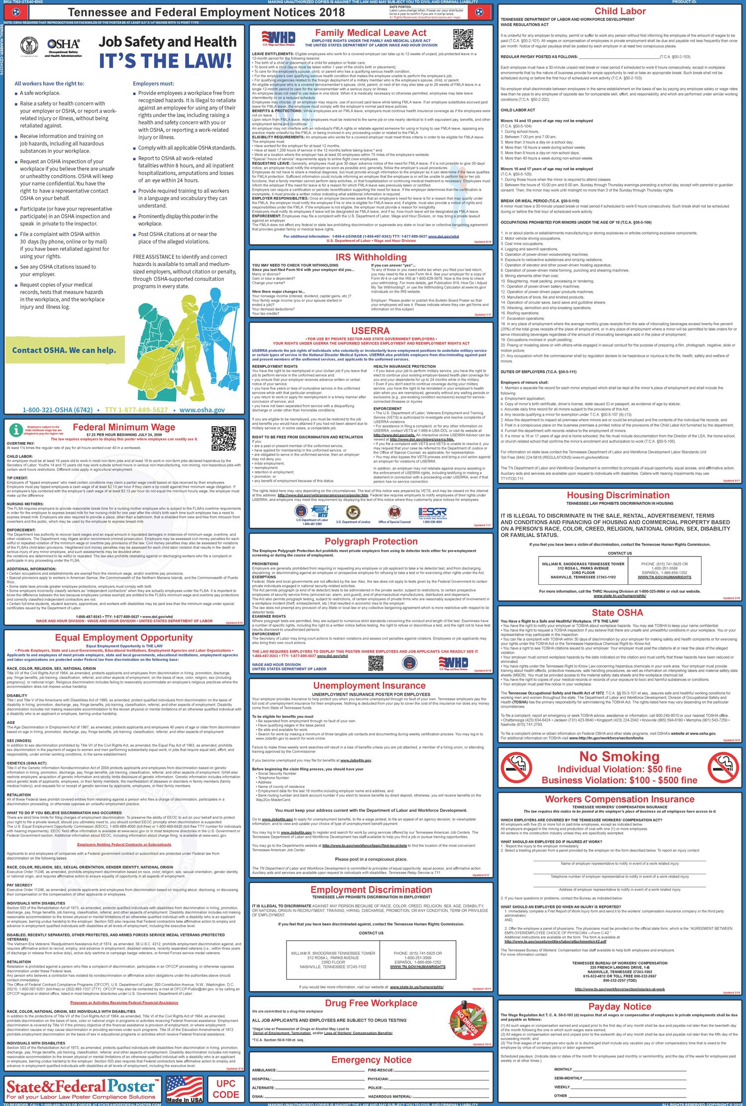 Tennessee State And Federal Labor Law Poster 2017 2018 Labor Law