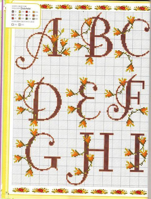 grafico-de-ponto-cruz-e-croche-flores-monograma-bico-269729-4.jpg ...