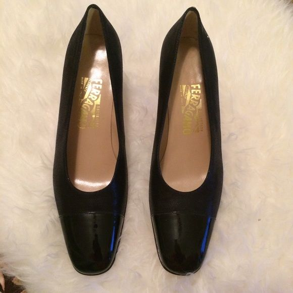 Salvatore Ferragamo Black Pumps LIKE NEW - Salvatore Ferragamo Black Pumps, Size 9.5 C, 3 inch heel height.  Great pair for work. Salvatore Ferragamo Shoes Heels