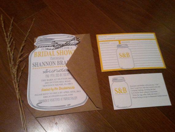 mason jar bridal shower invitations and recipe cards, bridal, Baby shower invitations