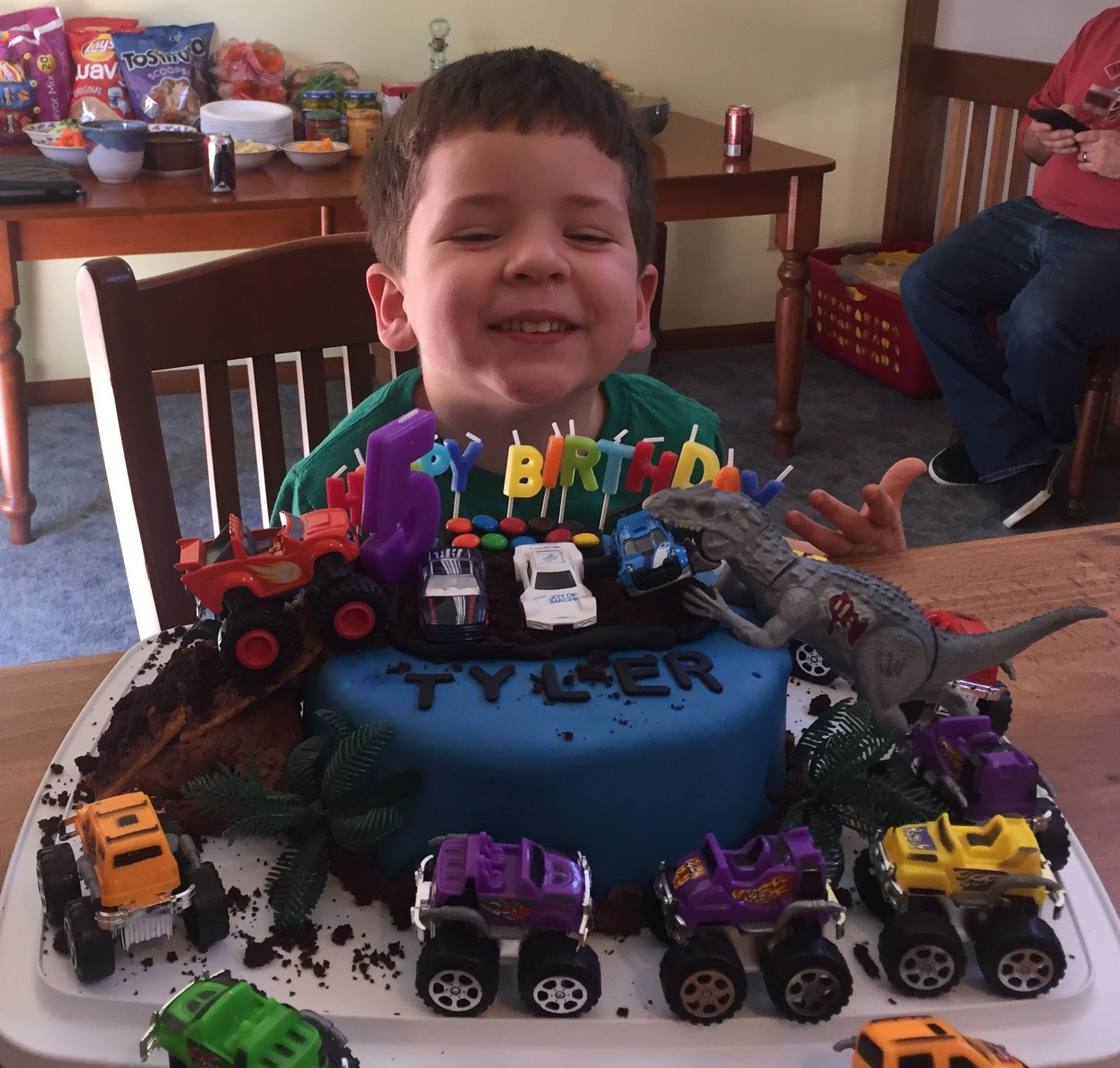 Monster Truck Vs Dinosaur Cake Monster Truck Cake Monster Truck Birthday Cake Monster Truck Birthday