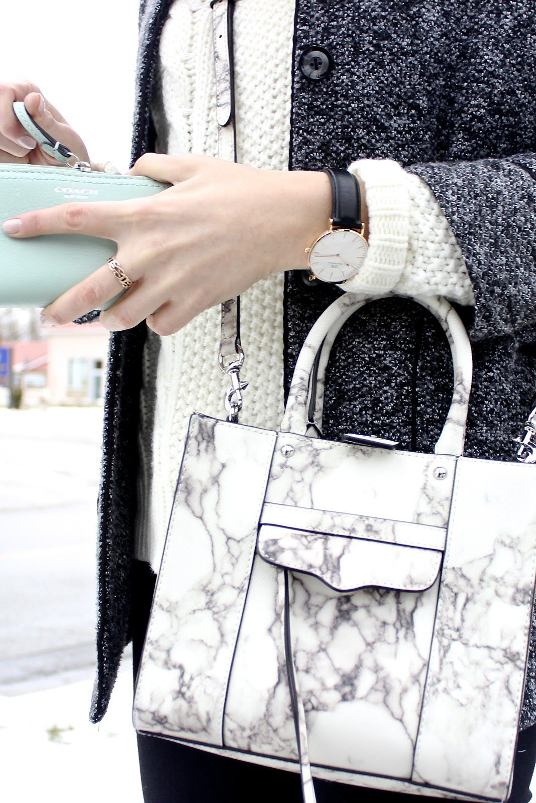 fdcf941e8 Rebecca Minkoff marble M.A.B. mini tote, Daniel Wellington watch, mint  coach wallet, Sheinside coat