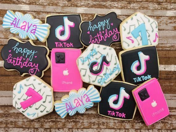 Custom Cookies Tik Tok Music App Iphone Happy Birthday Cookies Etsy Happy Birthday Cookie Cookie Party Favors Birthday Cookies