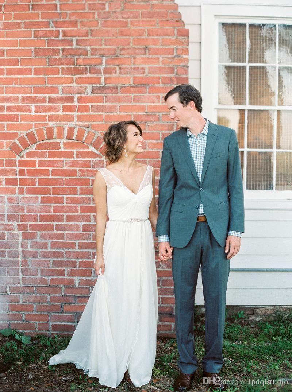 Bohemian wedding dresses ivory chiffon with lace sexy wedding dress