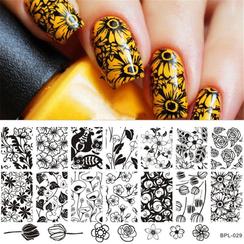 Nail Art Image Stamping Plate Nail Stamp Template Tulip Pattern Born