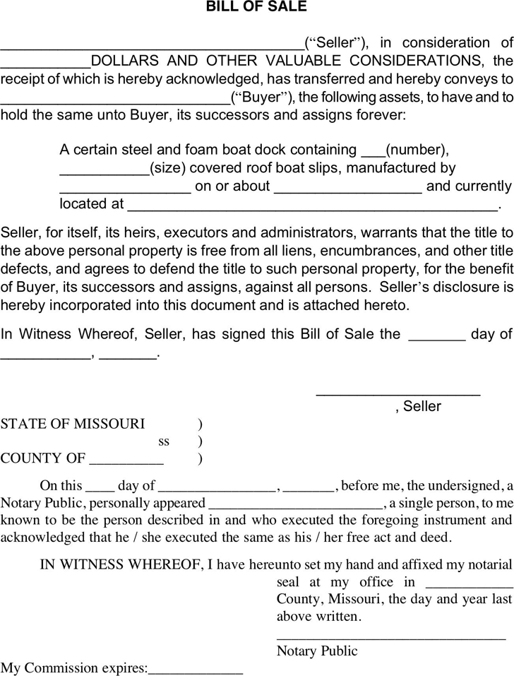 Missouri Vessel Bill Of Sale Form Download The Free Printable Basic Bill Of Sale Blank Form Template Or Waiver In Microsoft Word Bills Templates Blank Form