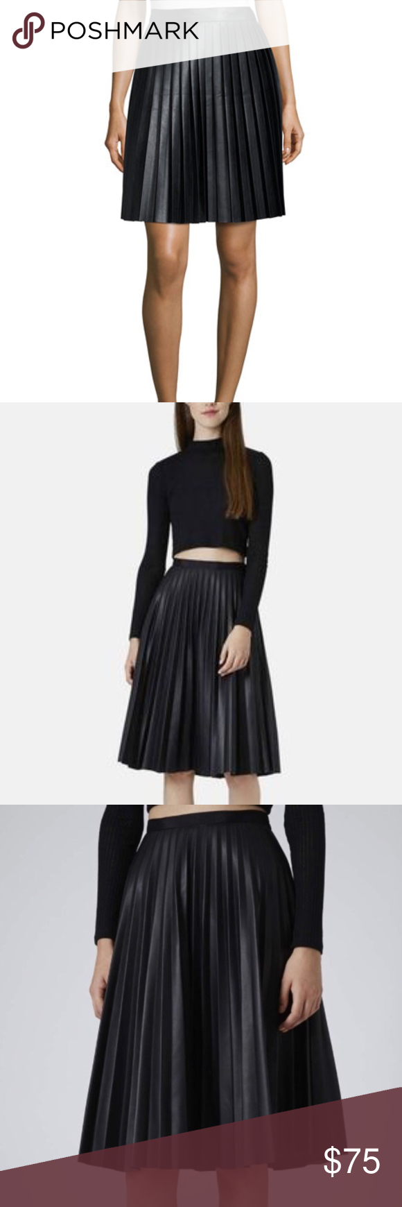 1a3d54c824 MK NWOT pleated pleather midi skirt black nwot pleated pleather skirt high  fashion item good for times of year. MICHAEL Michael Kors Skirts Midi