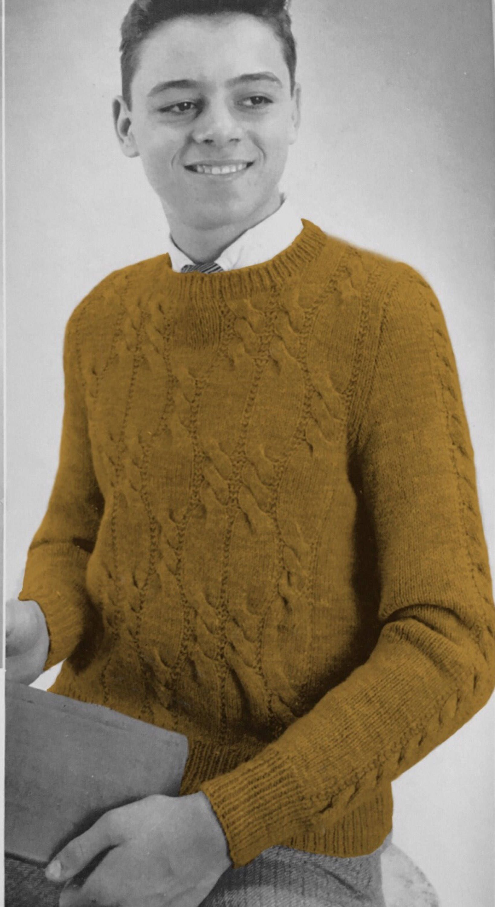 Vintage 1959 Teen Boy Cable Knit Sweater Pattern, Young Mens ...