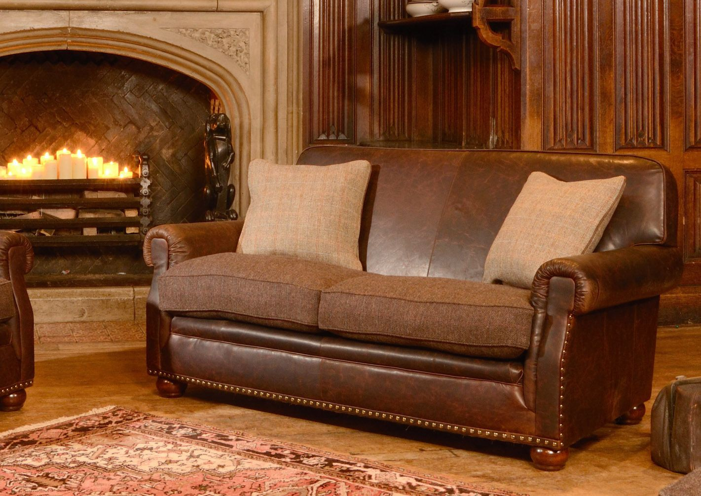 Scottish tweed and leather sofa laurentian styles for Leather and tweed sofa