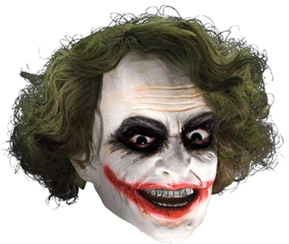 Costumes Masks! Adult Deluxe Vinyl Joker WannaBe Mask with Hair ... 59e2f066b6