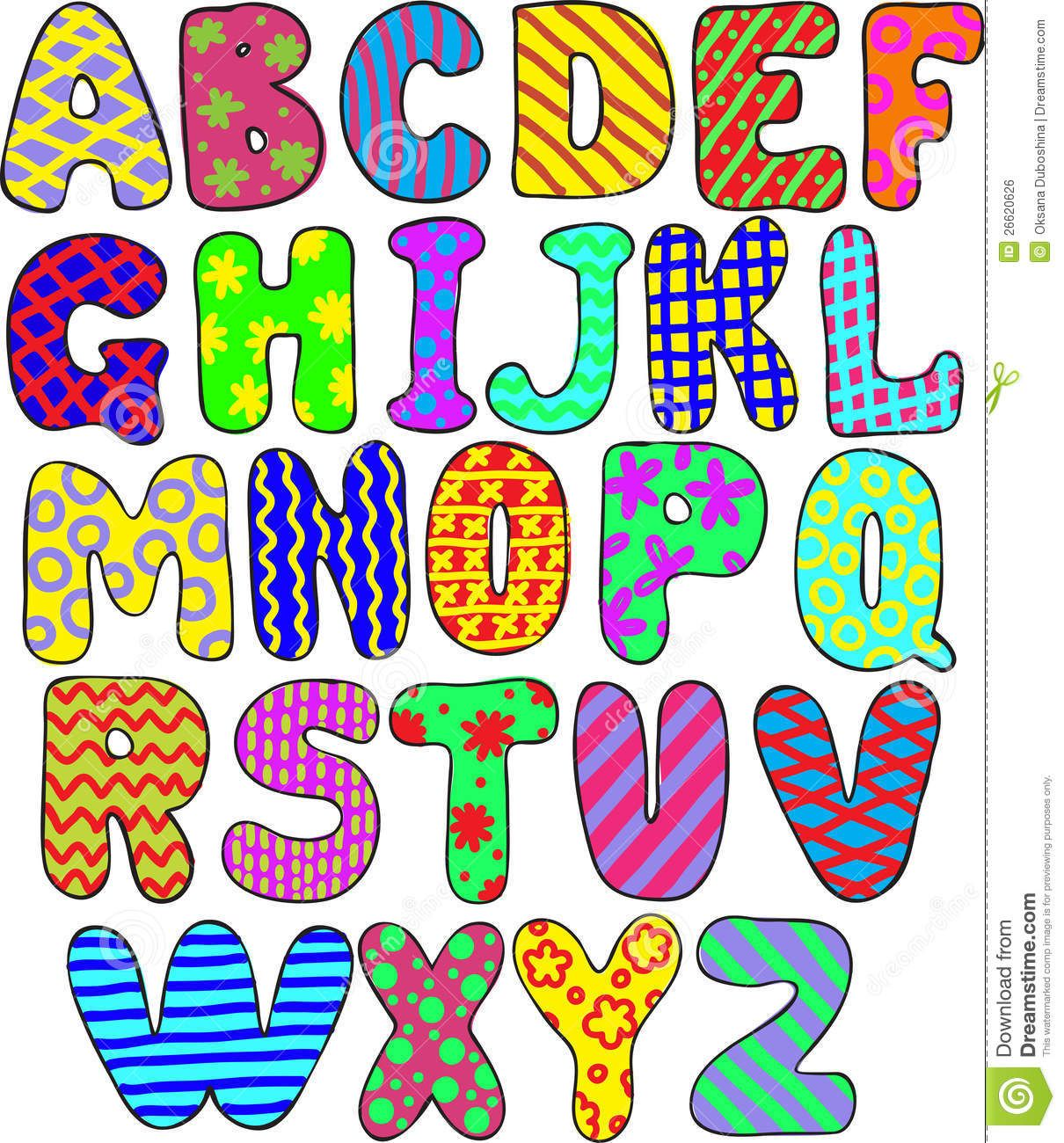 eps Instant download uppercase letters jpeg scrapbooking Patterned Alphabet Clip Art Set-A-Z png colorful letters