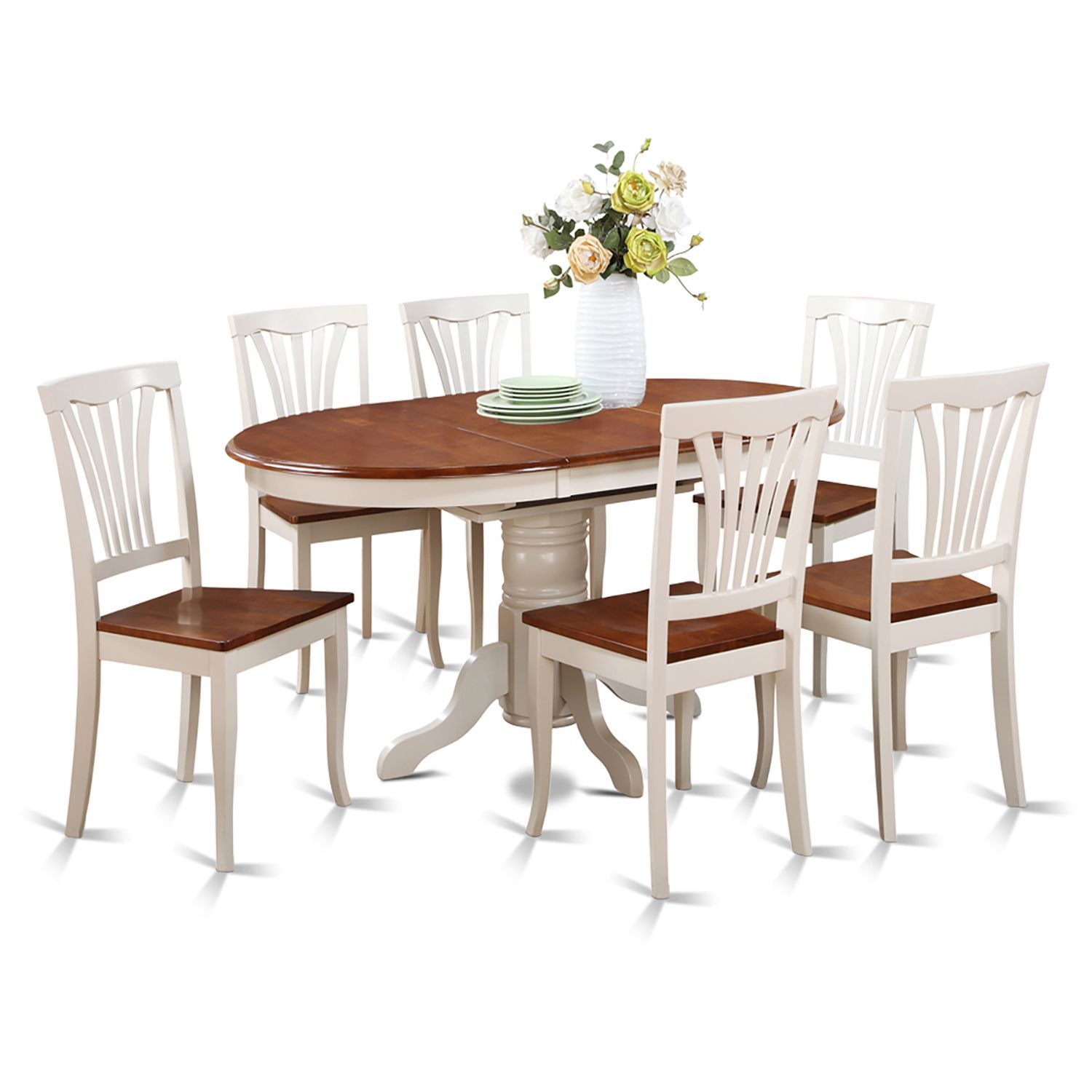Piece oval dining room table with leaf and dining chairs