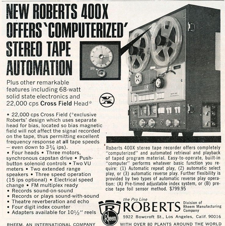 1967 Ad For Roberts 400x Tape Recorders In Reel2reeltexas Com S