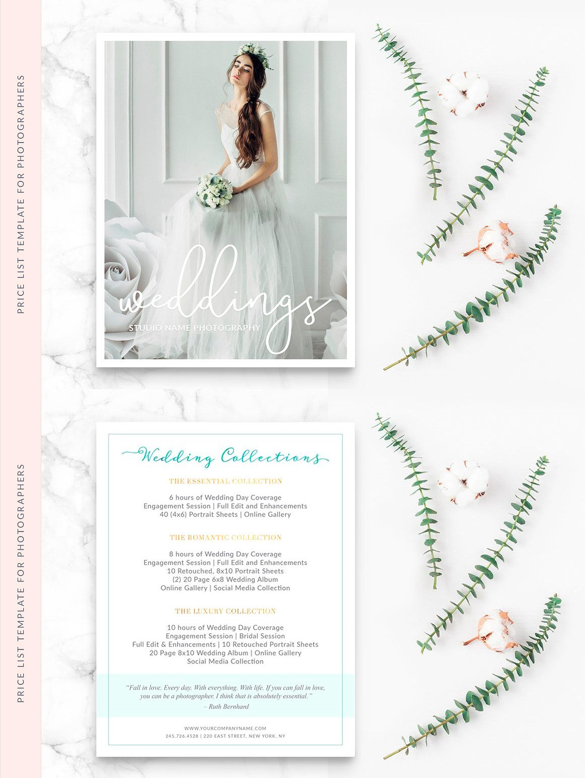 Price Sheet Photography Template Psd Pdf  Brochure Design