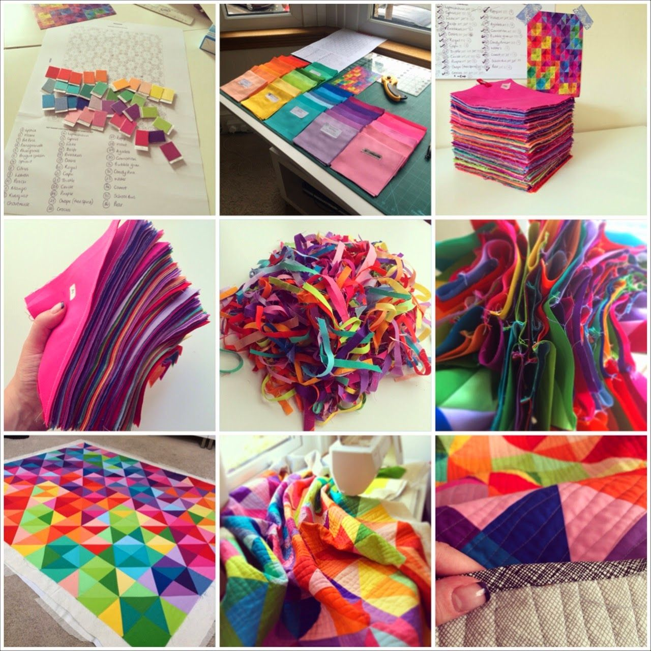 A quilt, from start to finish! Love brightly colored quilts! | Jeliquilts: 'Postcard from Sweden' -aka the IKEA HST quilt