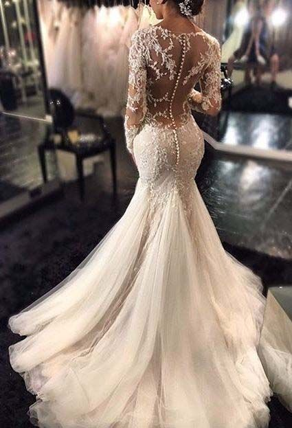 2017 Mermaid Wedding Dresslace Beaded Y Bridal Gowns