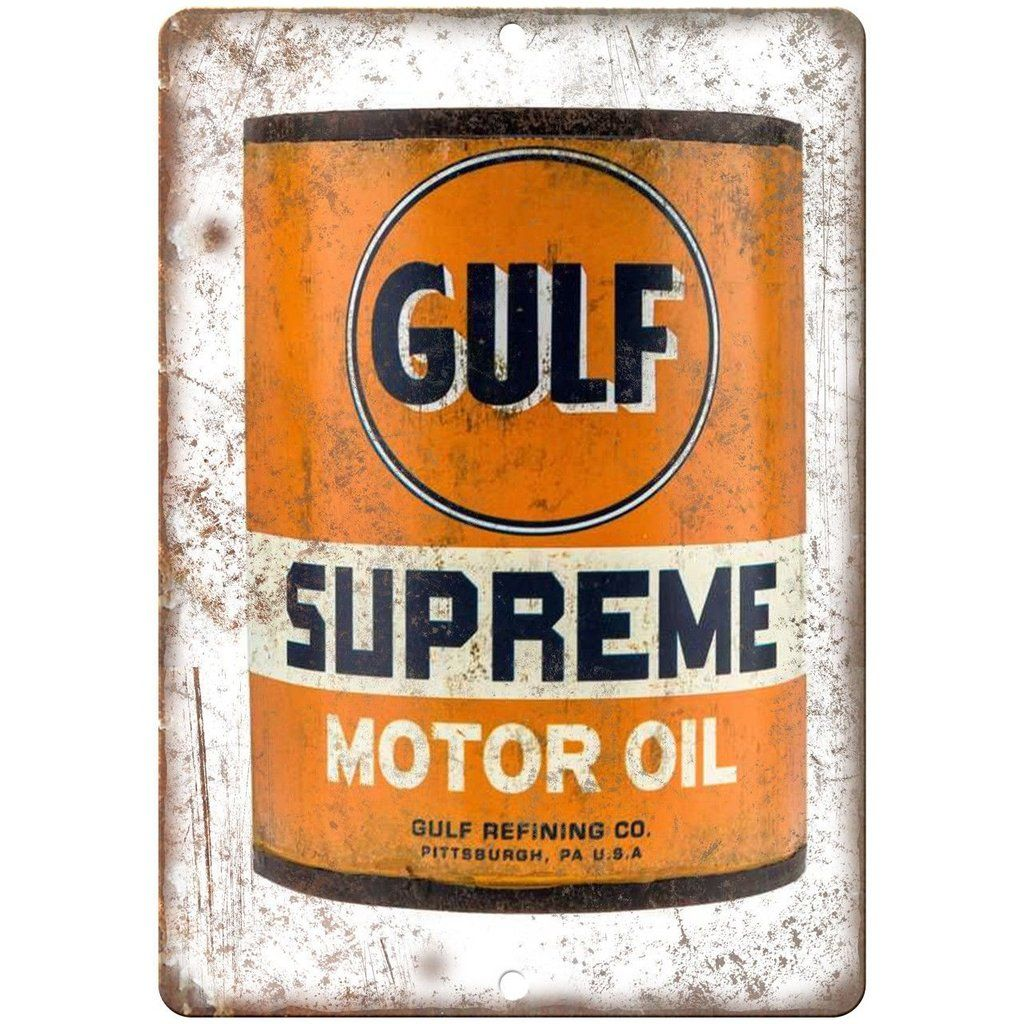 Gulf supreme motor oil vintage can 10 x 7 reproduction