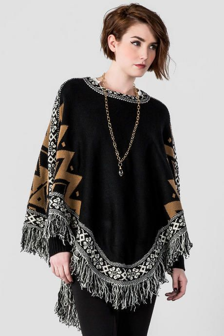 Stay warm & look cute wearing the Lucella Fringe Poncho Sweater. A ...