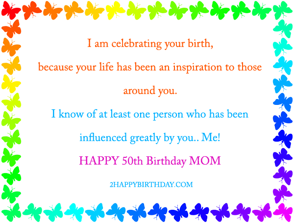 50th birthday wishes for mom