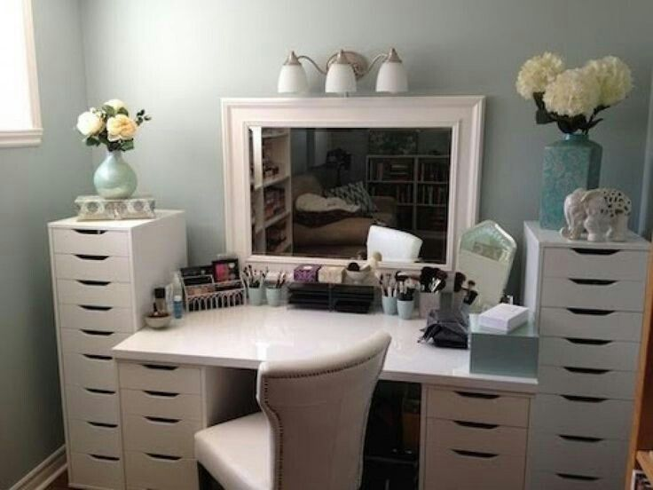 desk used as vanity. Ikea desk and drawers used as a vanity with ample storage for all your  beauty supplies tocador de maquillaje Buscar con Google Home Pinterest