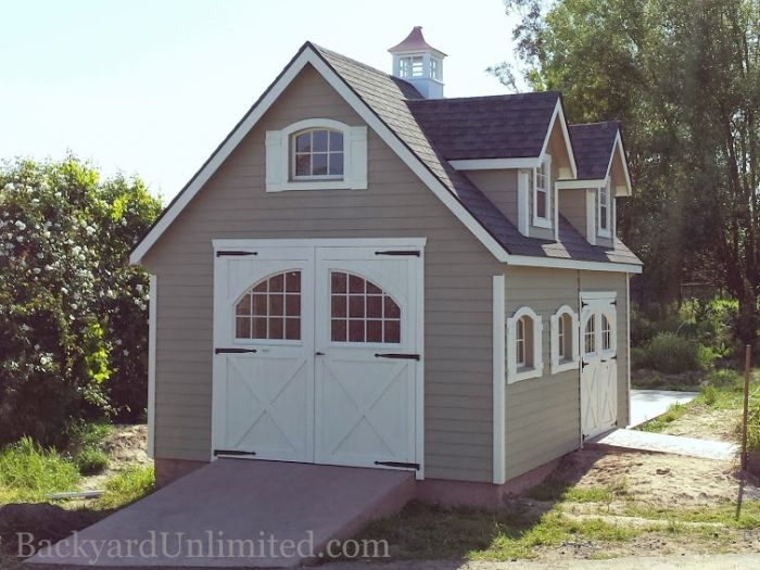 Good Garden Shed Garage #4: Garden Shed With Steep Roof, Dormers, Lap Siding, Cupola, Arched Woodu2026