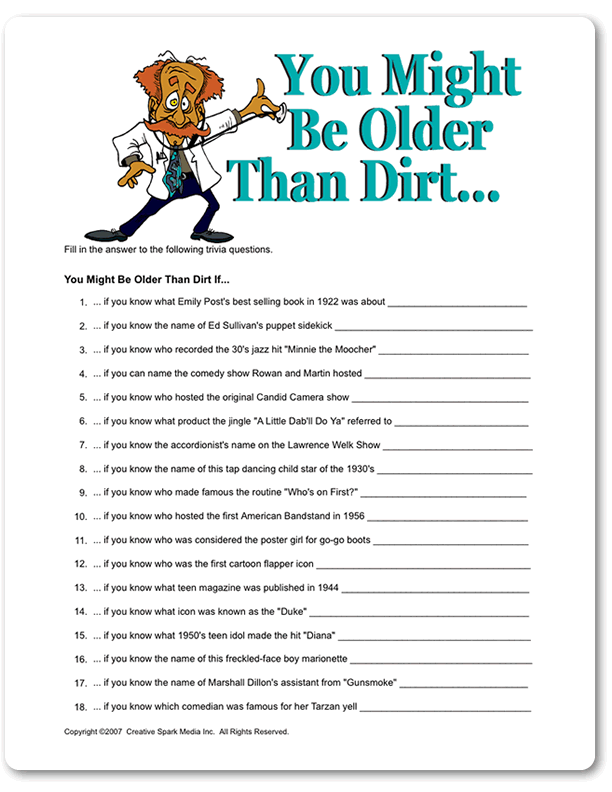 Printable You Might Be Older Than Dirt 50th Birthday Party Games 85th 90th