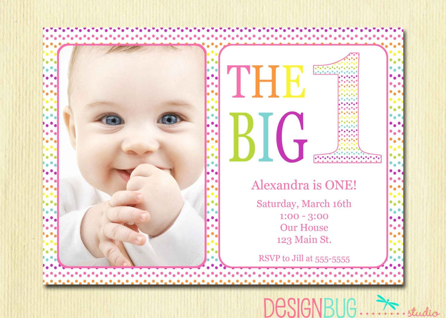Rainbow First Birthday Invitation Baby Girl DIY Photo Printable – Custom 1st Birthday Invitations