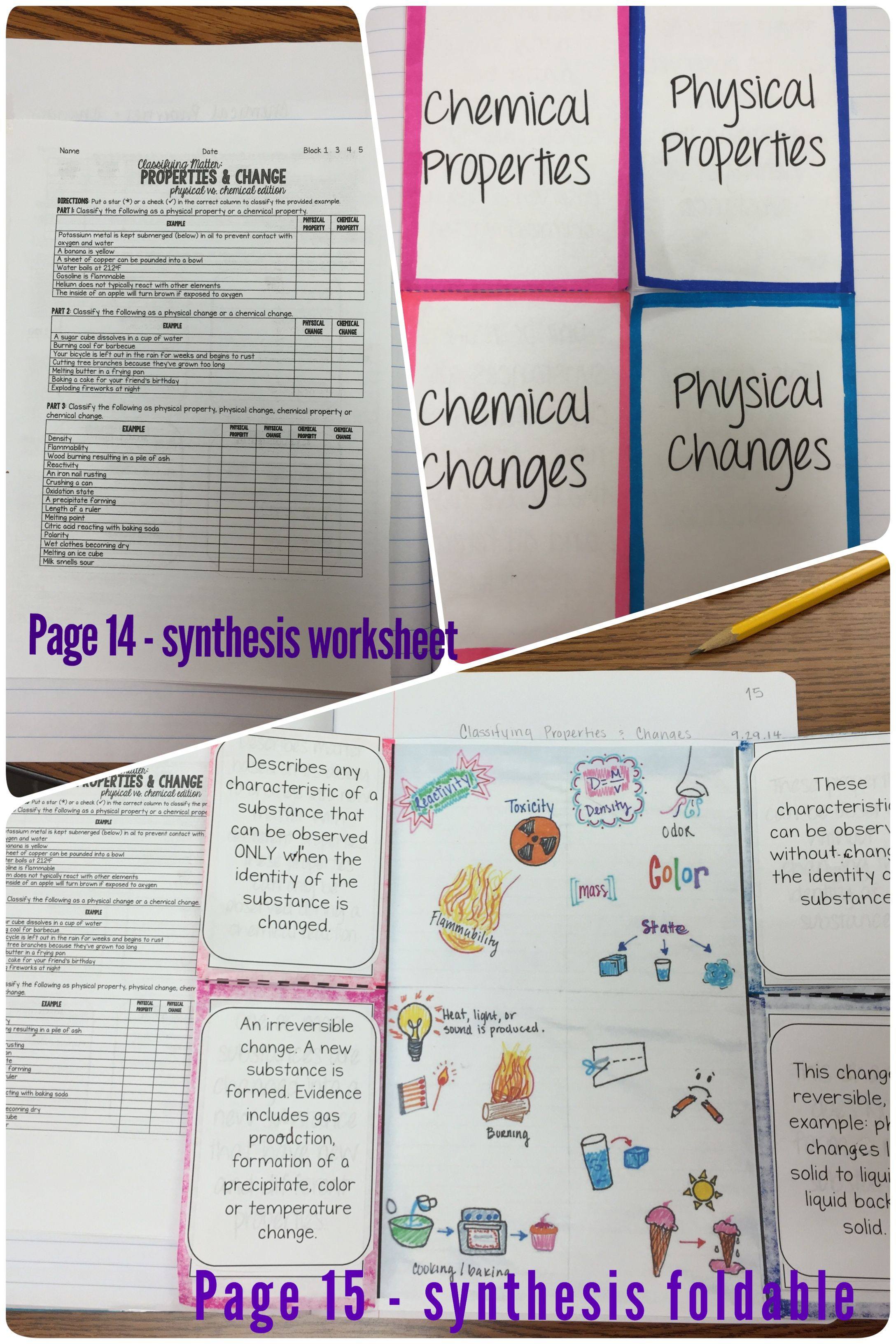 worksheet Physical Chemical Properties Changes Worksheet synthesis physical vs chemical properties changes and changes
