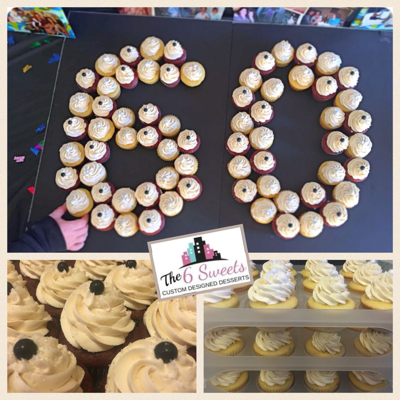 Vanilla and red velvet cupcakes60th birthday ideasmade by The