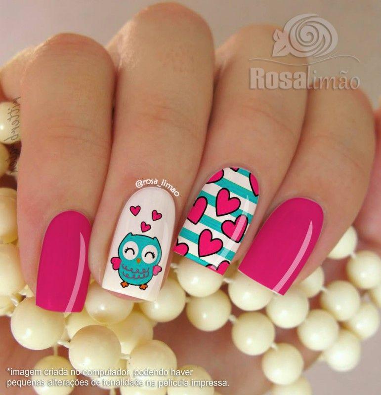 Cartela | Manicure, Owl nails and Nail nail
