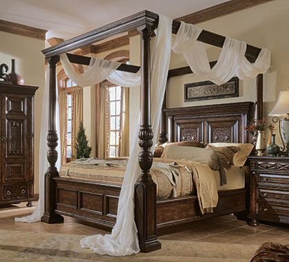 Dark brown teak canopy bed frame decor with height headboard and white sheer curtain. Incredible Four Poster Bed Frame Design Ideas & FOUR POSTER BED!! This is exactly what Iu0027m looking for!! | Home ...