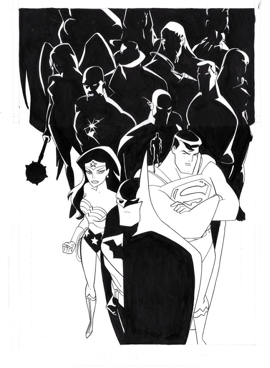Justice League Unlimited Sketch By Bruce Timm Comic Art Superhero Art Bruce Timm I'm of two minds about doing another sketch for the federation of doom (arch foes to the klingon justice league). bruce timm comic art