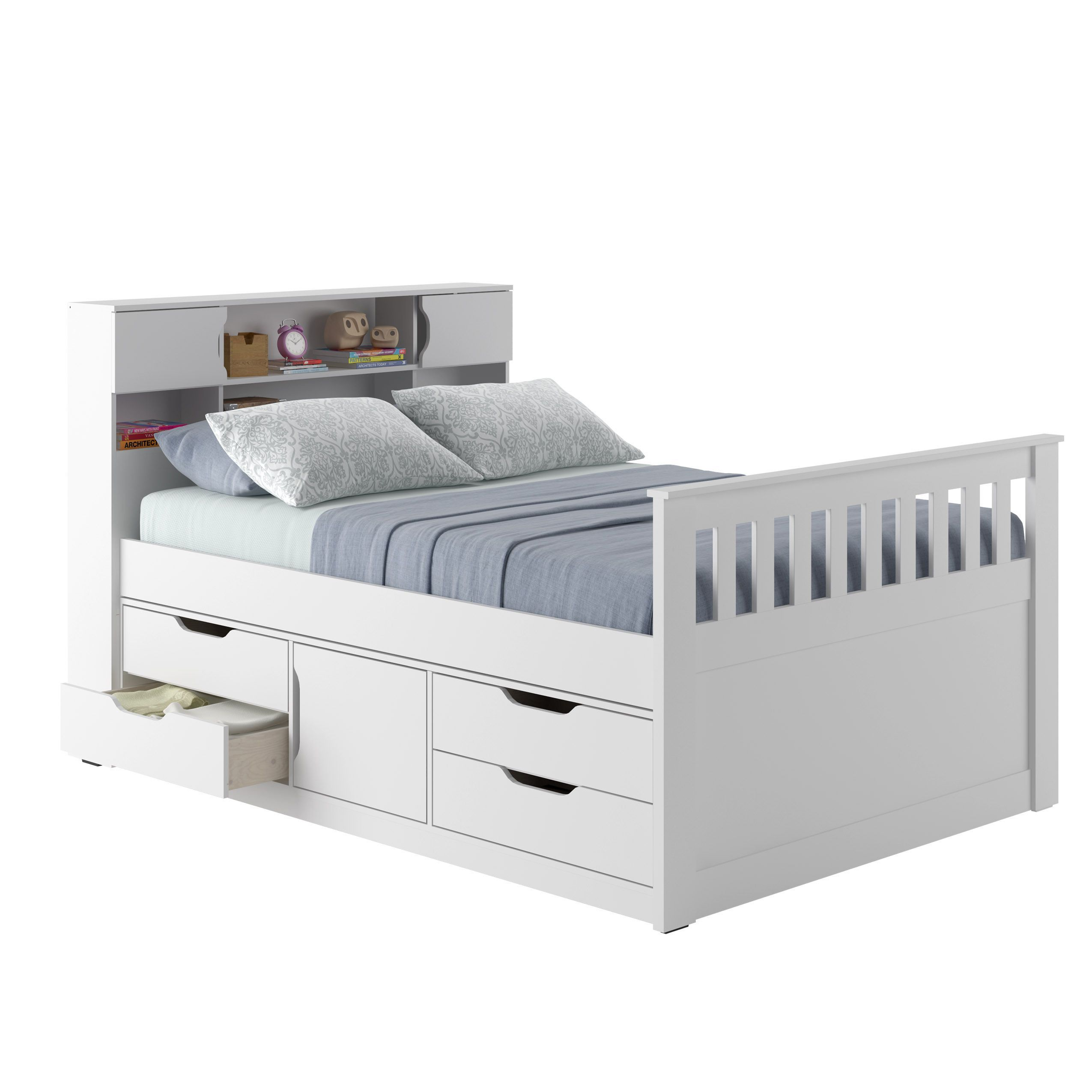 CorLiving Madison Full/Double Captain's Bed (White White
